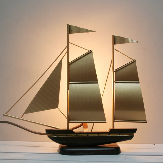 vintage gold ship table lamp