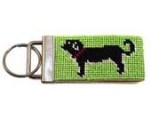 Needlepoint Kit - Key Fob with Black Dog  - with monogram option