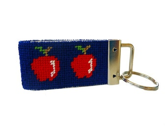 Key Fob in Apples Needlepoint Kit with monogram option