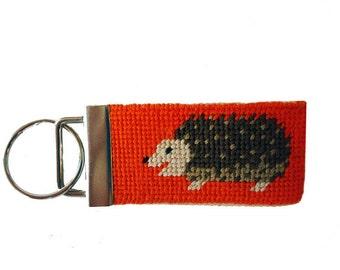 Needlepoint Kit, Key Fob with Hedgehogs,  monogram option