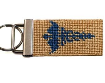 Needlepoint Kit, Doctor Symbol Key Fob with monogram option