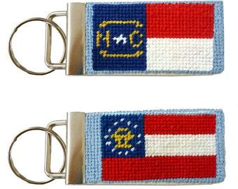 Needlepoint Kit, Georgia or North Carolina State Flag Key Fob with monogram option