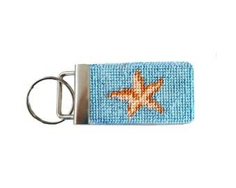 Needlepoint Kit, Starfish Key Fob with monogram option
