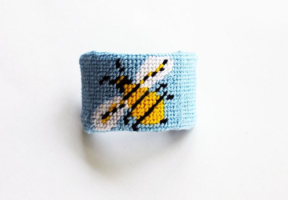 Needlepoint Kit, Ponytail or Barrette Cuff with Honey Bee