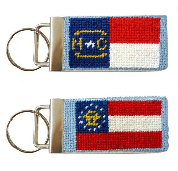 Needlepoint Kit, Georgia or North Carolina State Flag Key Fob with monogram option