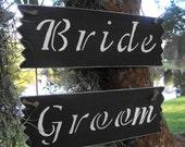 Bride & Groom Chair Signs Chalkboard Rustic Woodland Outdoor Farmhouse Wedding