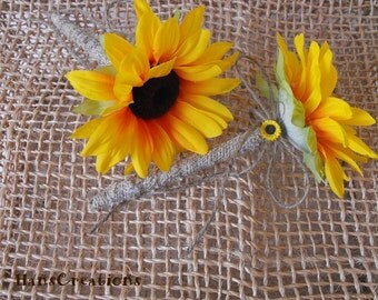 Set of Two Stylish Burlap Sunflower Wedding Pens for your Guestbook Rustic Woodland Farmhouse Country Ceremony