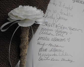 Stylish Burlap Wedding Pen for your Guestbook Rustic Woodland Vintage Inspired Country Cottage