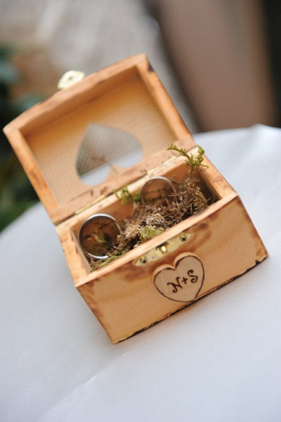 Wedding Ring Bearer Box Alternative To The Ring Pillow Rustic Country Chic Wedding