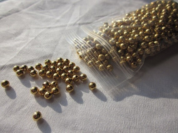 Gold Colored 3mm Round Beads 500 Pieces