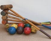 Vintage Six Player Croquet Set w/ Portable Stand