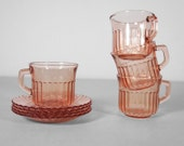Vintage 1940's Pink Depression Glass Tea Cup and Saucer Set