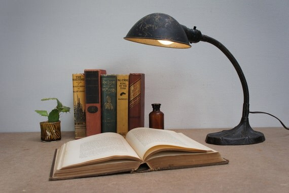 Vintage Early 1900s Industrial Black Desk Lamp with – Old Desk Lamps