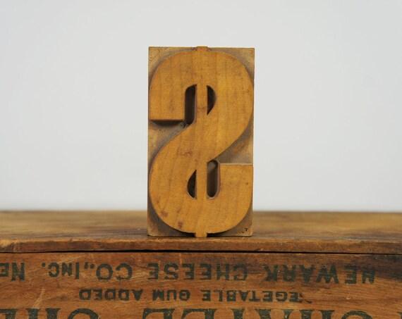 Vintage Letterpress Type Block, Dollar Sign