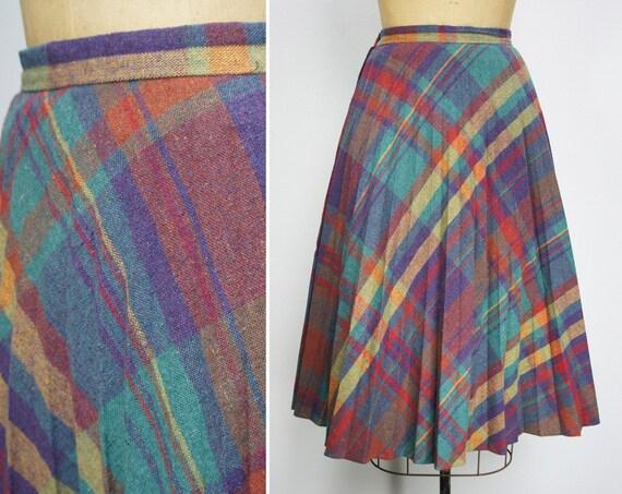 Vintage 1970's Multi-Color Plaid Pleated Skirt, Size S / M