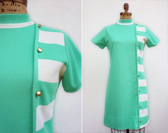 Vintage 1960's Mod Mint Green Dress with Side Stripes, Size M
