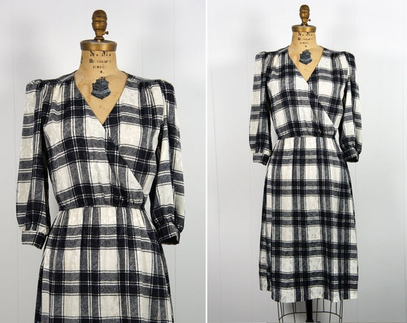 Vintage 1970's Black and White Plaid Checkered Dress, Size S