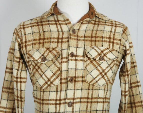 Vintage Men's 1950's Brown, Tan & Cream Striped Wool Flannel Shirt - Long Sleeve, Size S / M