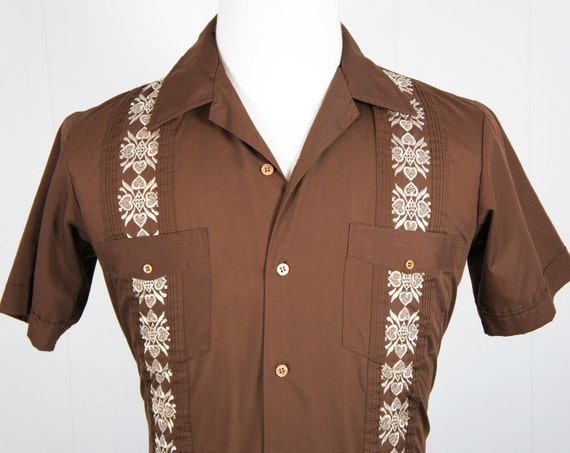 Vintage men 39 s chocolate brown button up guayabera by for Mens chocolate brown shirt