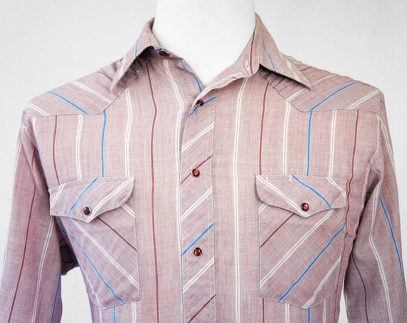Vintage Men's Maroon Striped Western Pearl Snap Shirt - Long Sleeve, Size M / L