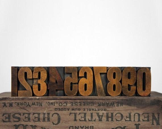 Vintage Letterpress Type Block Number Set, 0 through 9