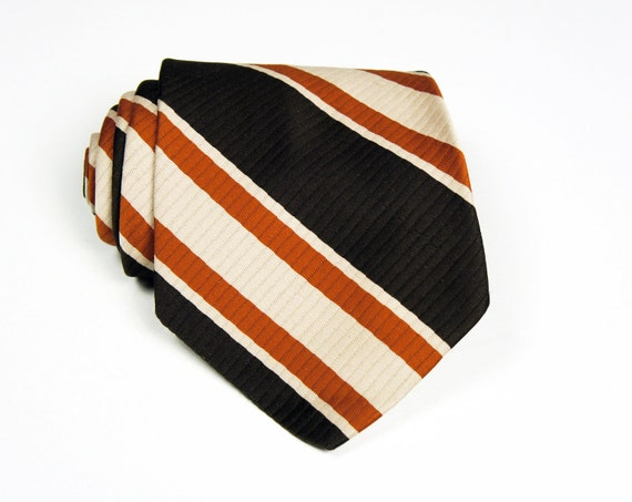Vintage 1970's Brown, Burnt Orange & Cream Striped Wide Necktie