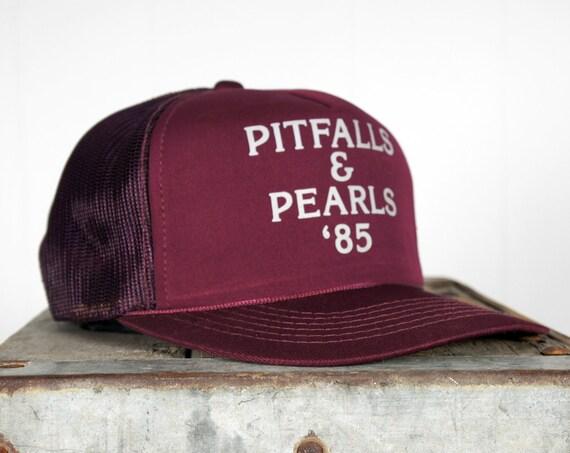 Vintage 1980's Pitfalls & Pearls Baseball Cap / Trucker Hat