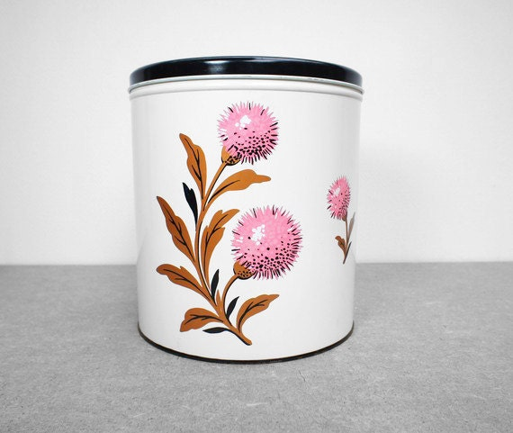 Large Vintage White Canister with Floral Print