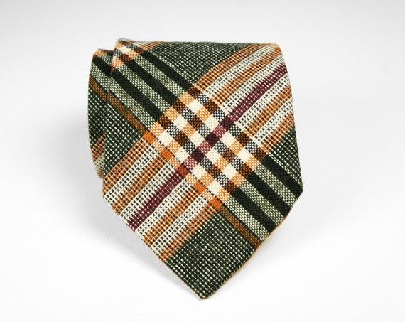 Vintage 1950's Forest Green, Orange, Red & Cream Striped Wool Necktie