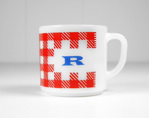 Vintage 1950's Red, White and Blue Letter R Coffee Mug
