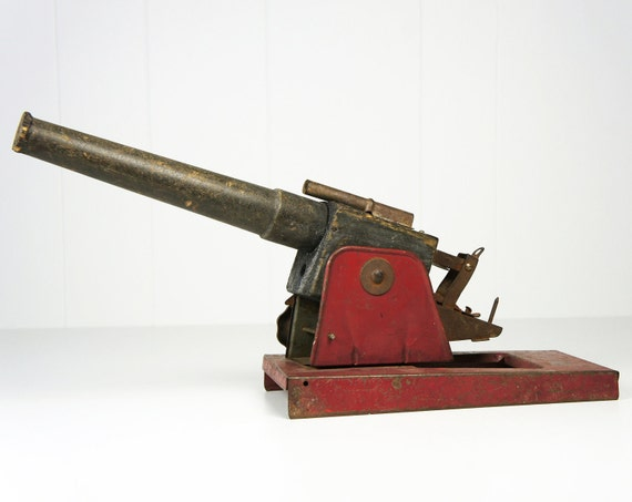 Vintage 1930's Metal & Wood Toy Cannon