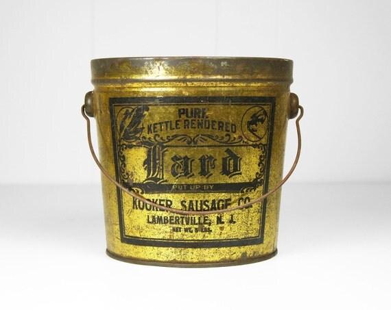 Vintage 1930's Kooker Sausage Company Lard Bucket -  Lambertville, New Jersey