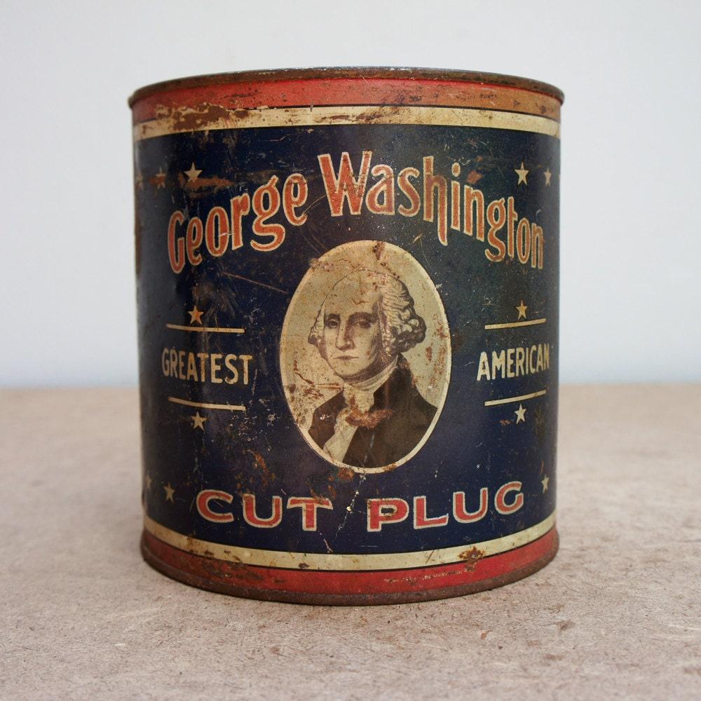 Vintage George Washington Cut Plug Tobacco Tin By