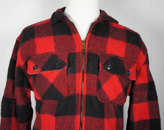 Vintage 1950 S Men S Red And Black Wool Lumberjack