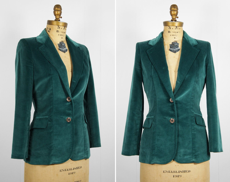 Vintage Blazer: Women's Forest Green Velvet Blazer Size