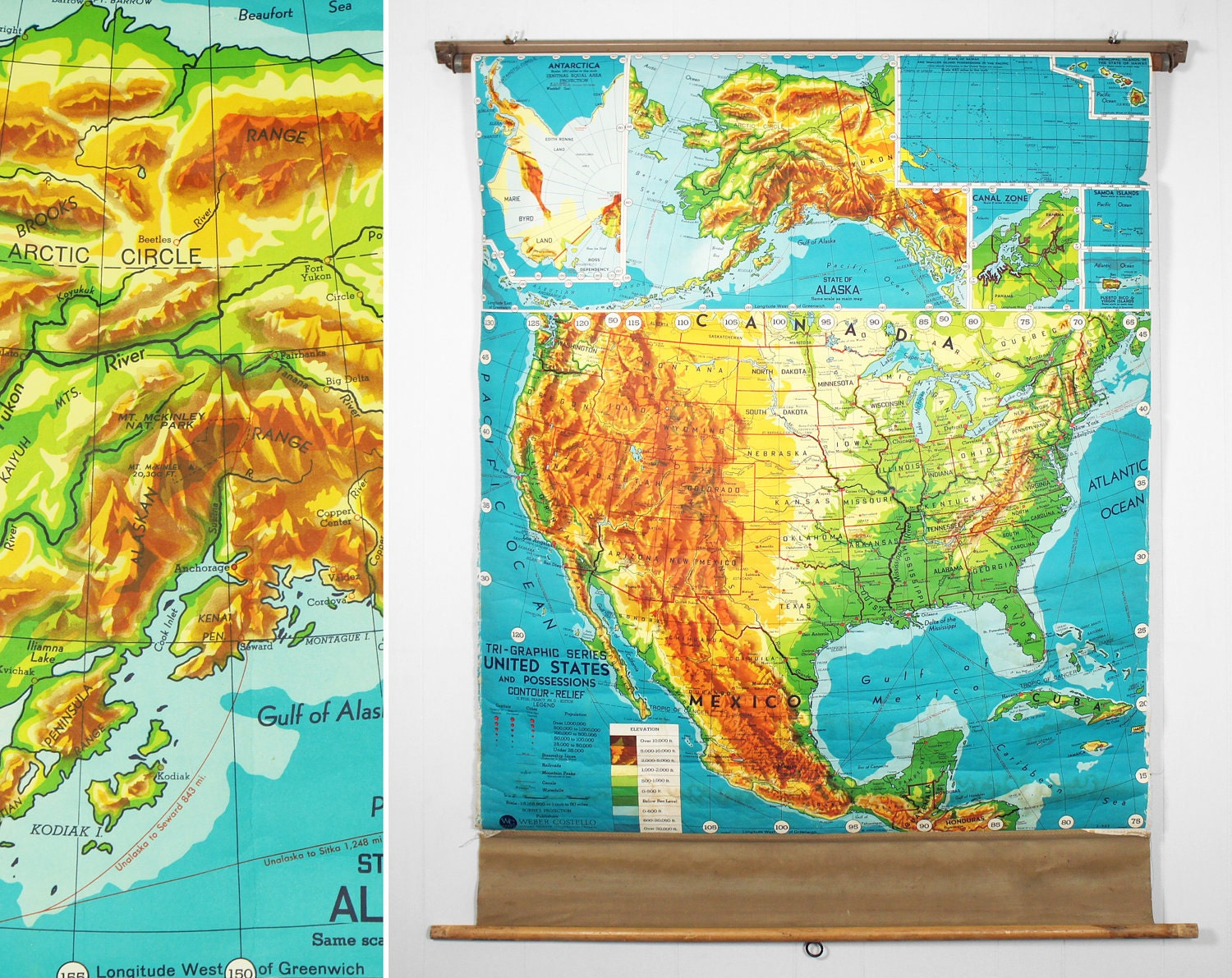 Vintage 1960 S Weber Costello Pull Down Classroom Map