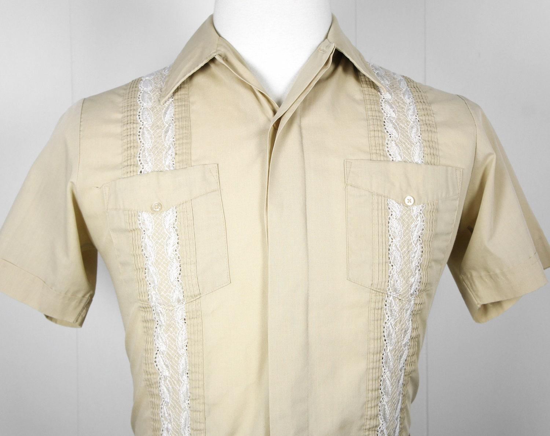 Vintage Men's Tan Button Up Guayabera Mexican Wedding