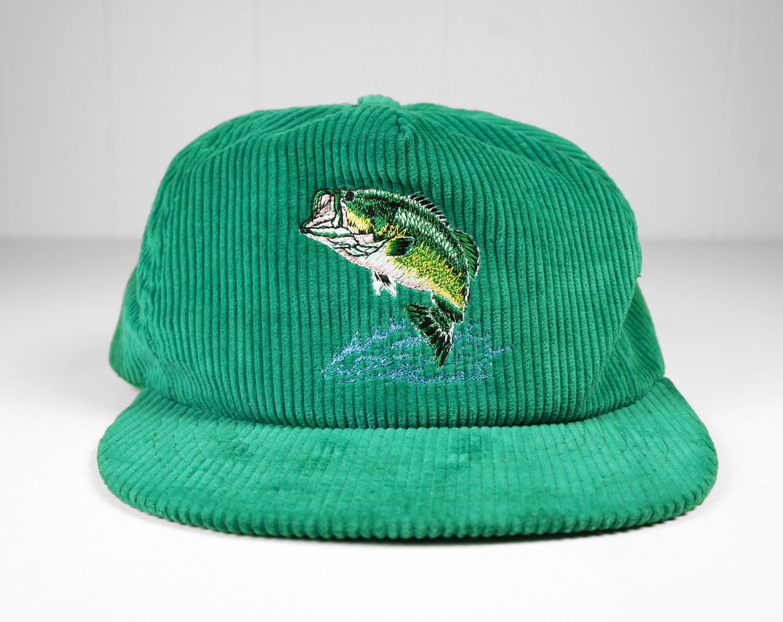 Vintage corduroy bass fishing baseball cap trucker hat for Fishing baseball caps