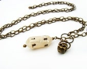 DEATH BY GAMING - Polyhedral Dice Necklace with Antique Brass Skull charm - Christmas gift or Stocking Stuffer for her - Ready to Ship