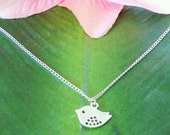 Silver Baby Bird Necklace, handmade jewelry