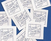 """Square Stickers - """"Thank You"""" - 20 Handstamped Stickers"""