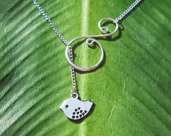 Silver baby bird with swirl, lariat necklace, handmade jewelry