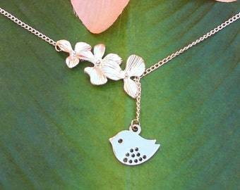 Silver Cascading Orchid Flowers with Bird Lariat Necklace, handmade jewelry