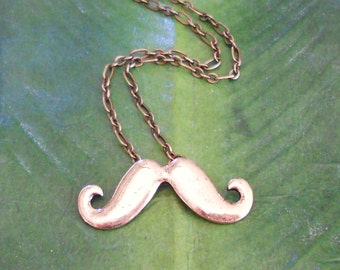 Antique Gold Mustache Necklace, handmade jewelry