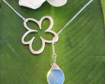 Silver wire wrapped gem with flower, lariat necklace - 15 gems to choose from, handmade jewelry