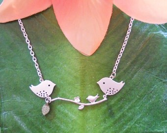 Mommy and Daddy Bird with Baby Bird sitting on a branch Necklace, Pregnancy, expecting, mother, new mom, family, handmade jewelry