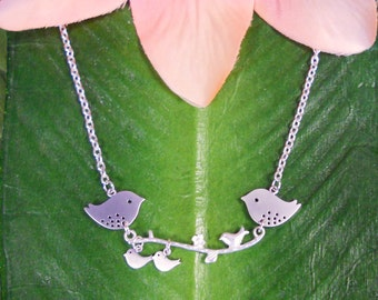 Bird family, Mommy and Daddy Bird with Baby Birds sitting on a branch Necklace, Pregnancy, expecting, mother, new mom, handmade jewelry