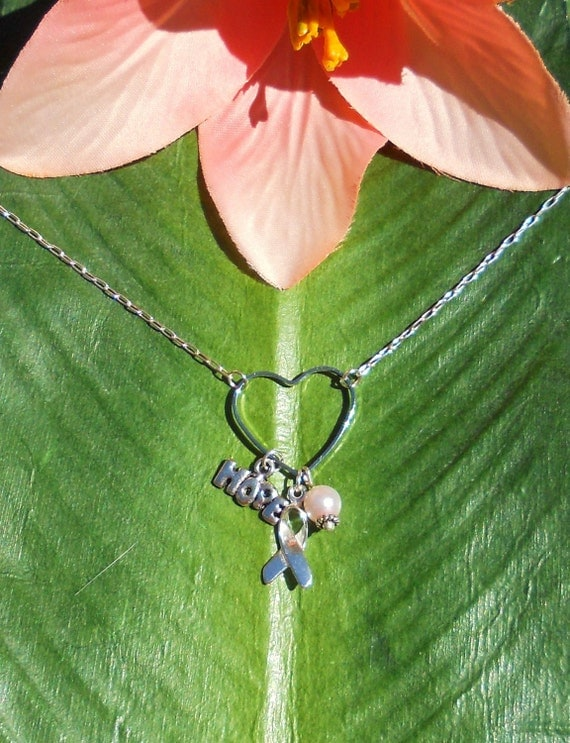 Silver Cancer Awareness Heart Necklace with charms, handmade jewelry