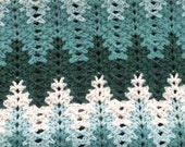 Chevron Stripe Crocheted Blanket in Shades of Green and White