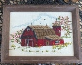 Two Needlepoint Barn Pictures--Winter and Summer Scenes ---Small Framed Artwork for your Home